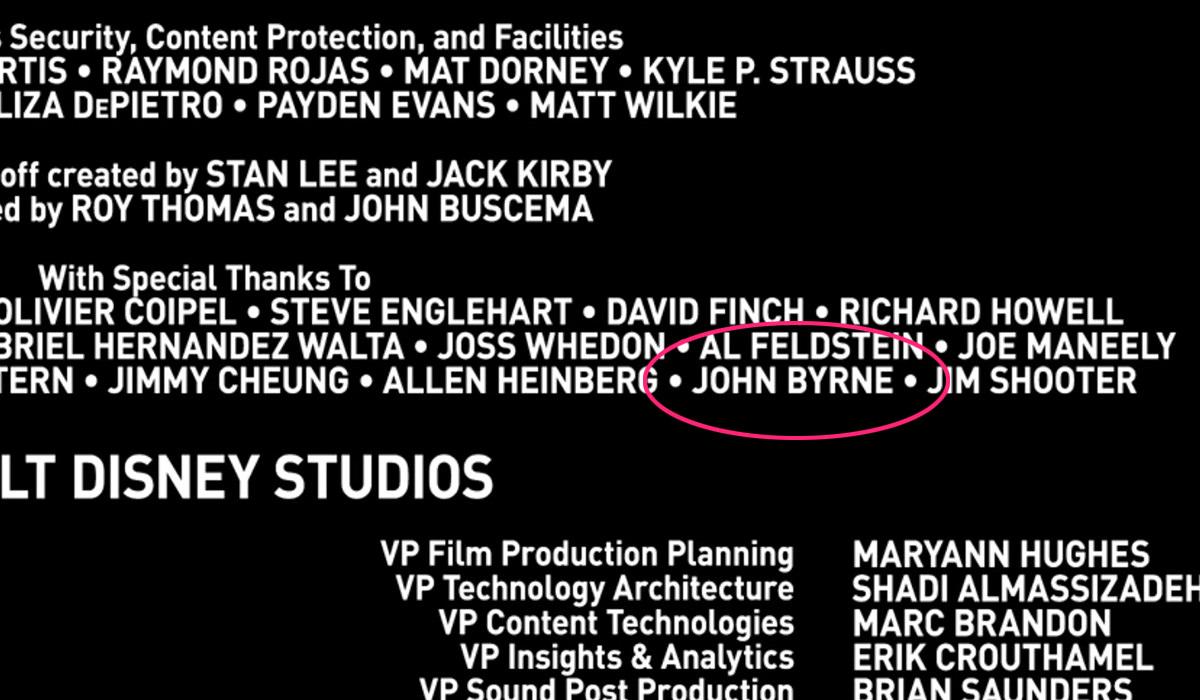 WandaVision credits showing John Byrne now.