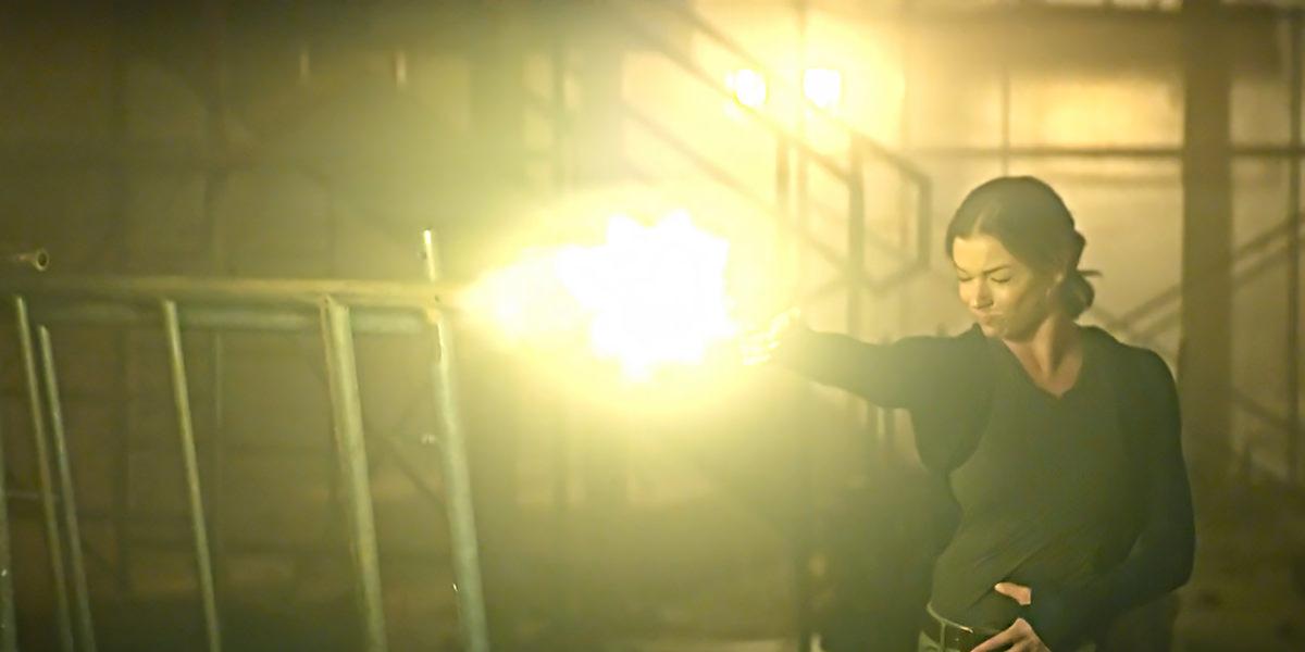 Sharon Carter unloading her gun at Karli.