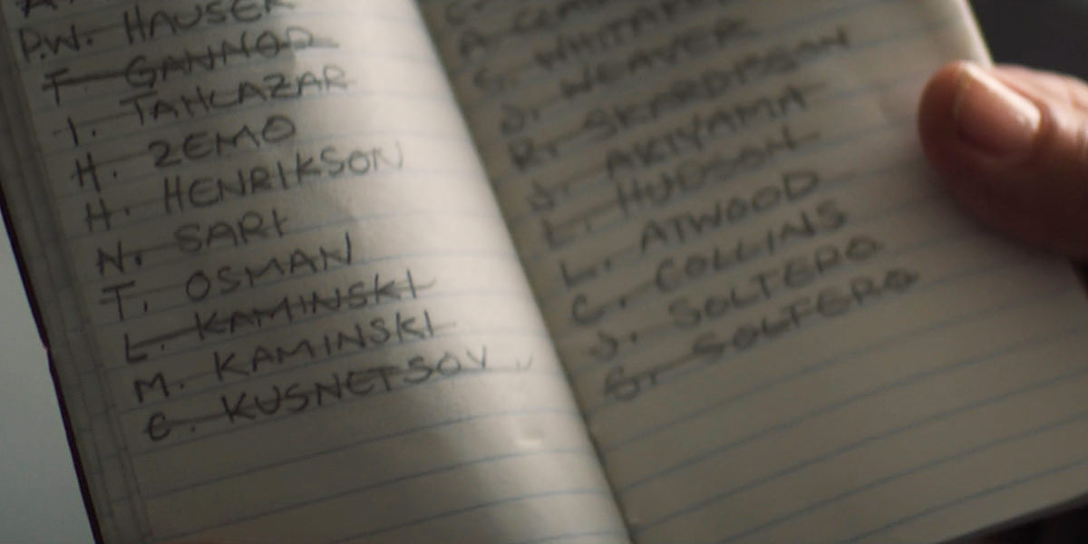 A book of names, all crossse off.