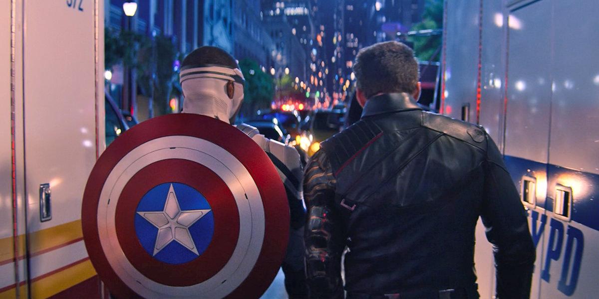 Cap and Bucky walking away.