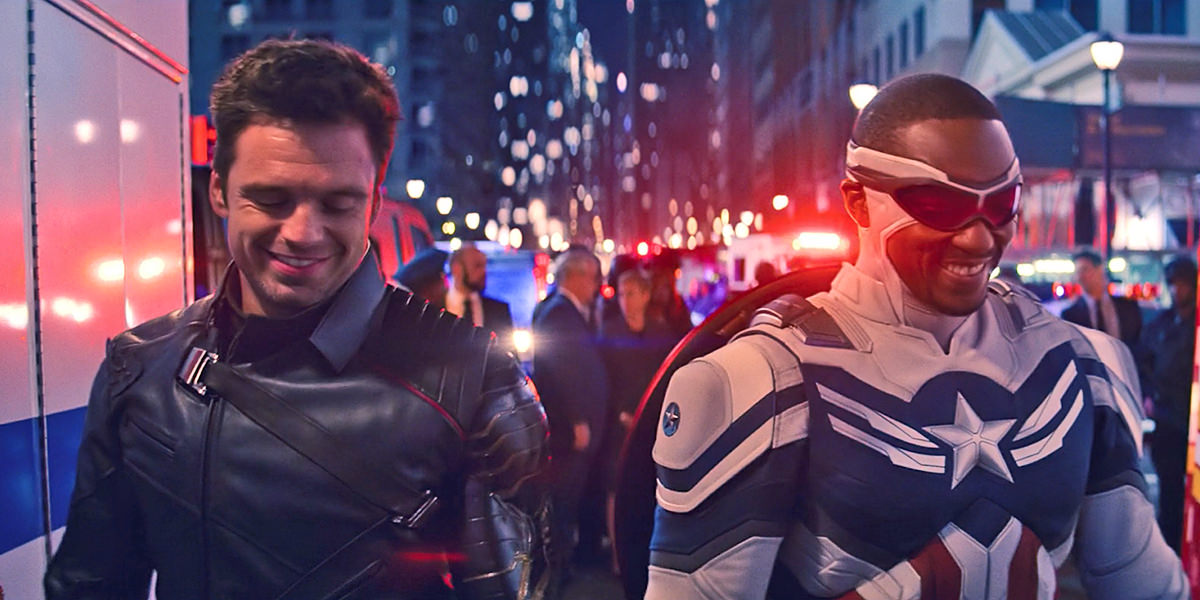 Cap and Bucky walking towards the camera, smiling.