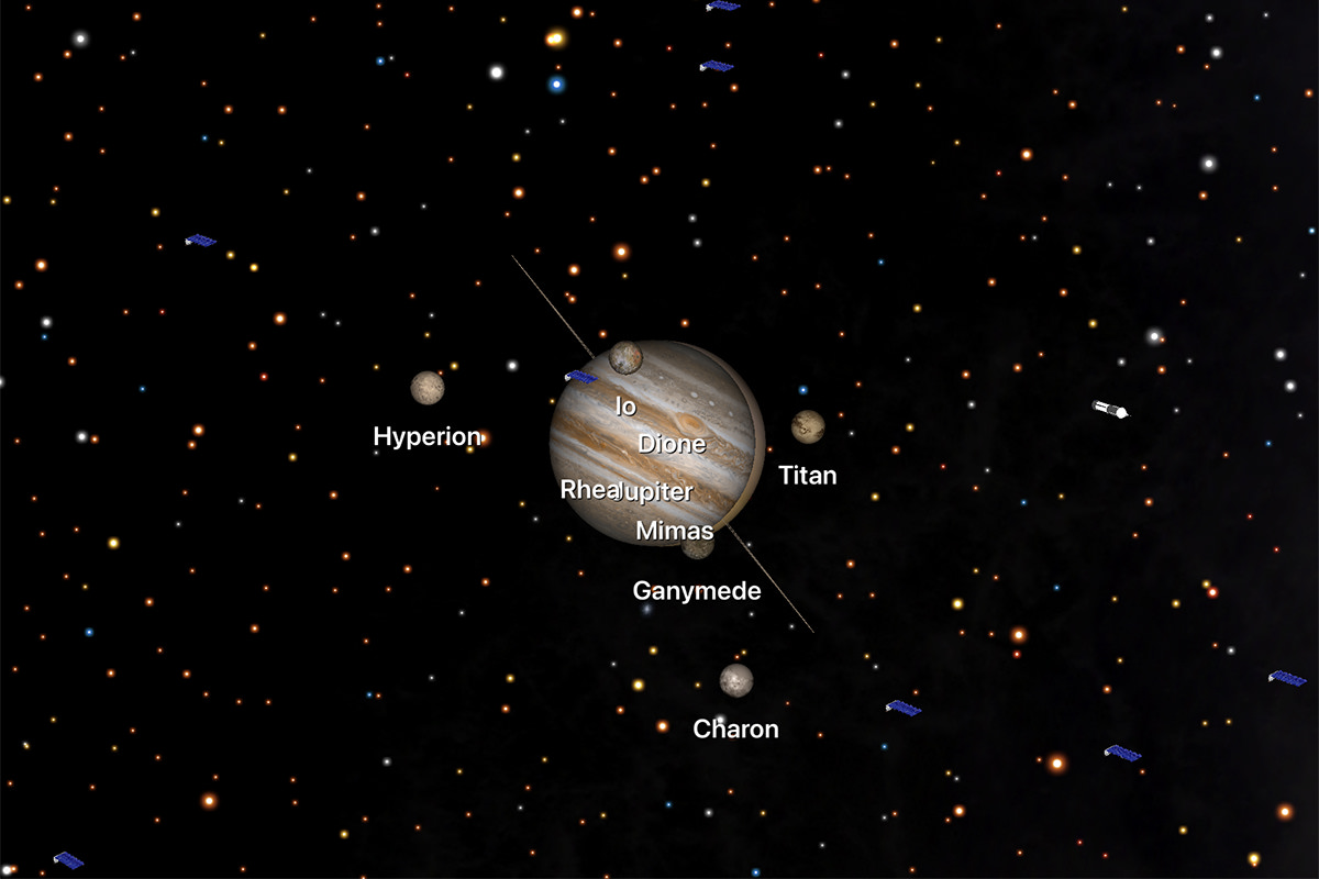 Rendition of Jupiter and Saturn converging.
