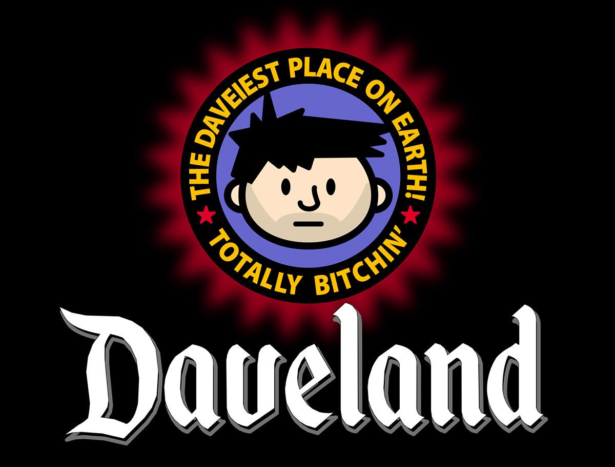 The Daveland logo... shamelessly rendered in the style of the Disneyland logo.