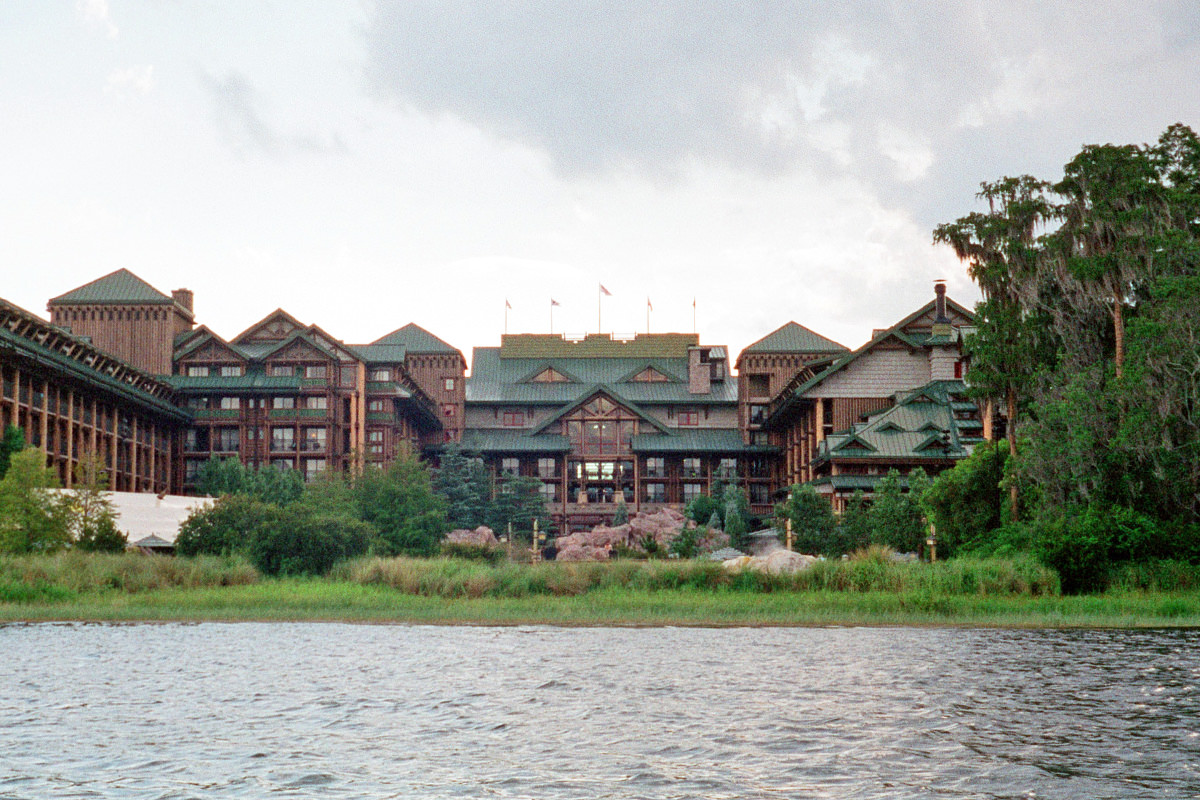 Disney's Wilderness Lodge as seen from the waters of Bay Lake.