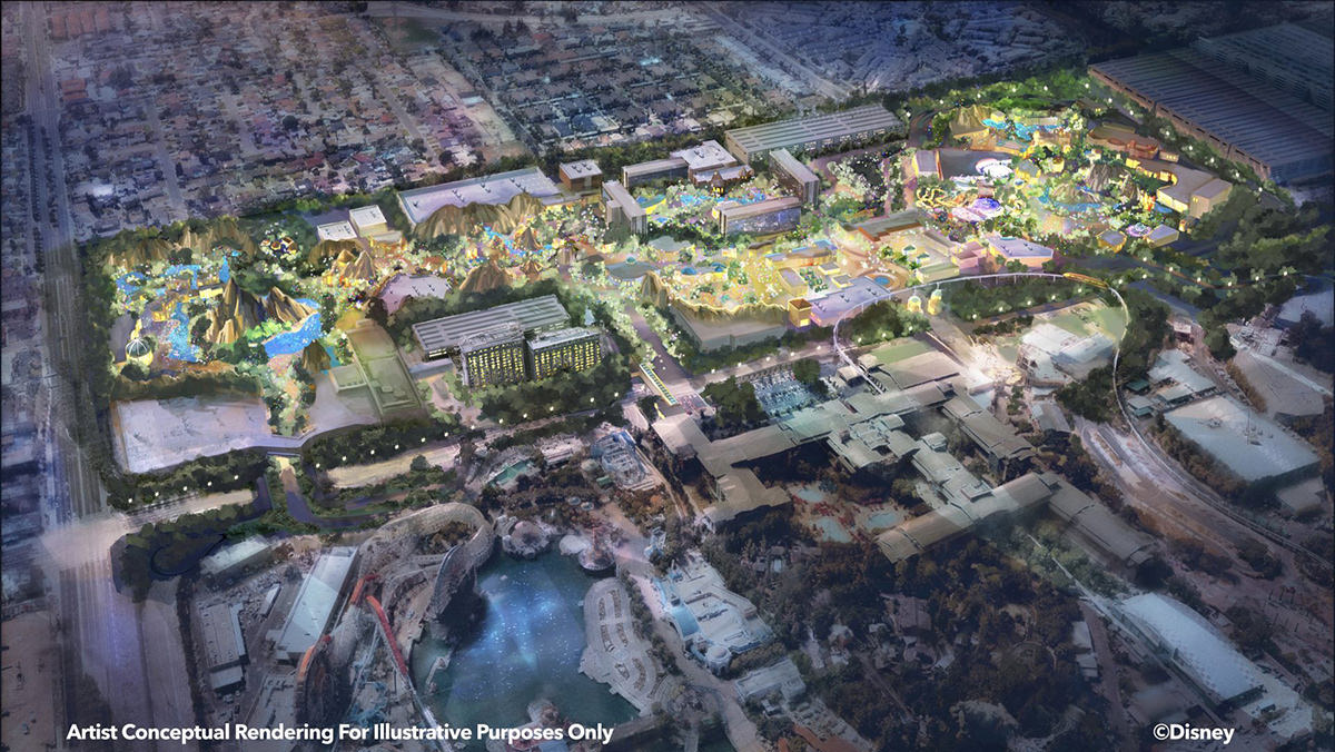 An illustration showing the Disneyland Westside Expansion.