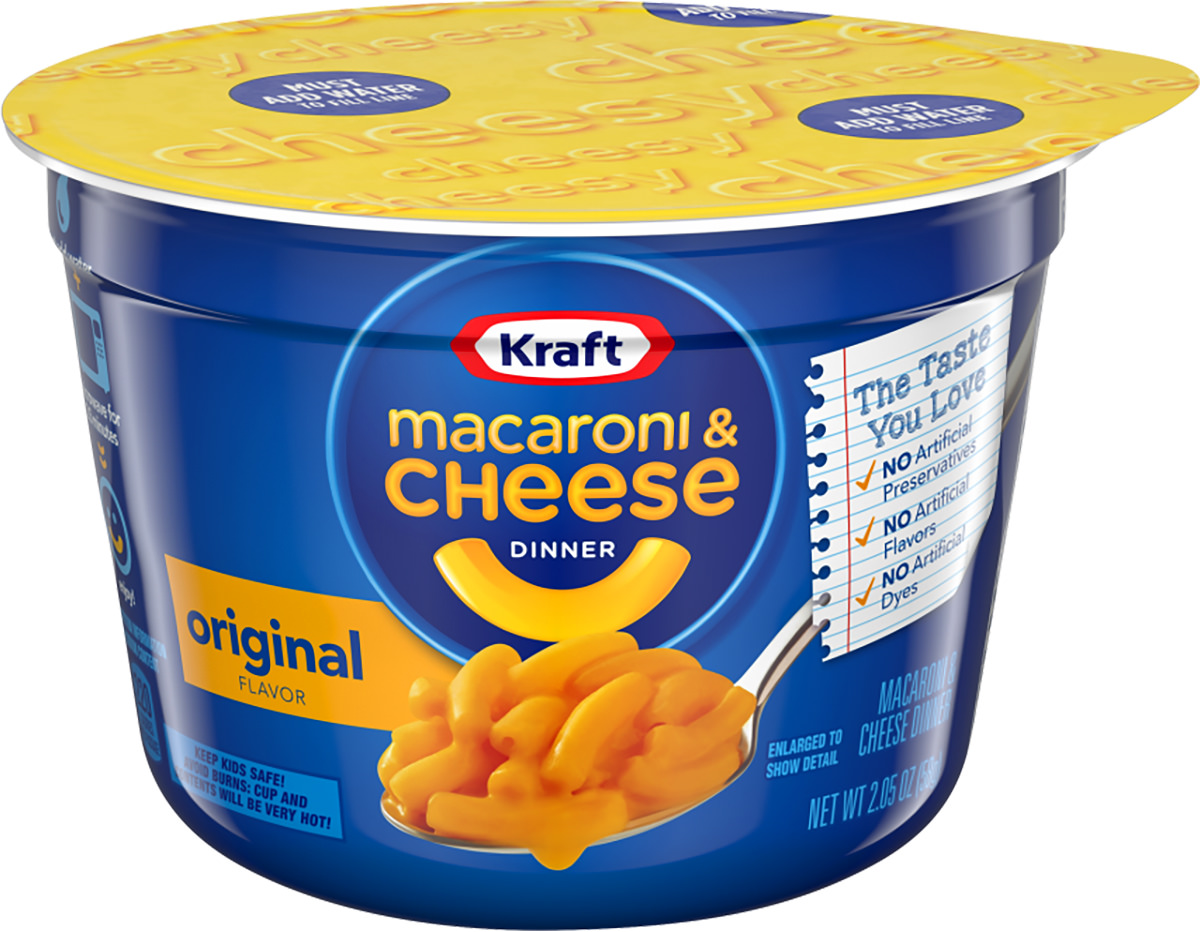 Kraft Macaroni and Cheese single serve cup.