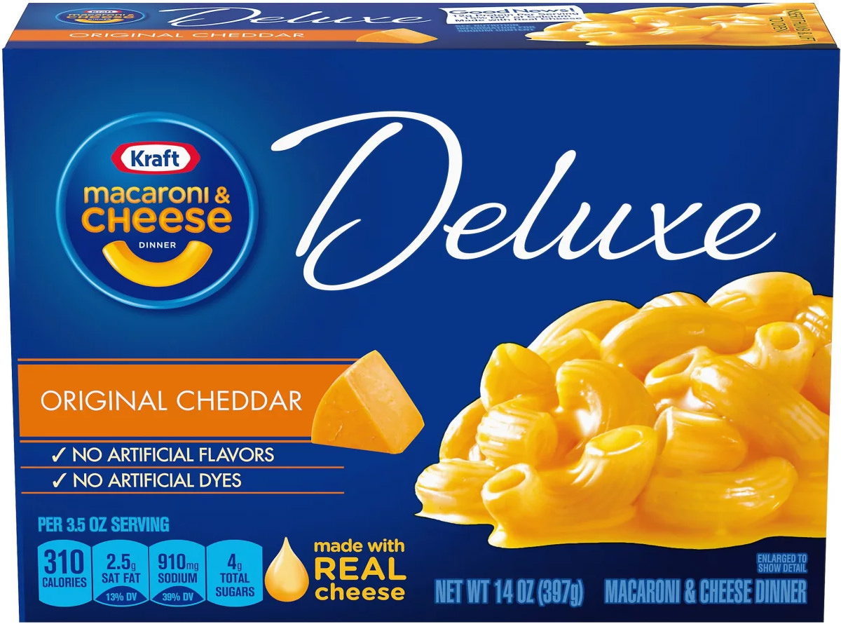 Kraft Macaroni and Cheese DELUXE boxed Kraft Dinner.