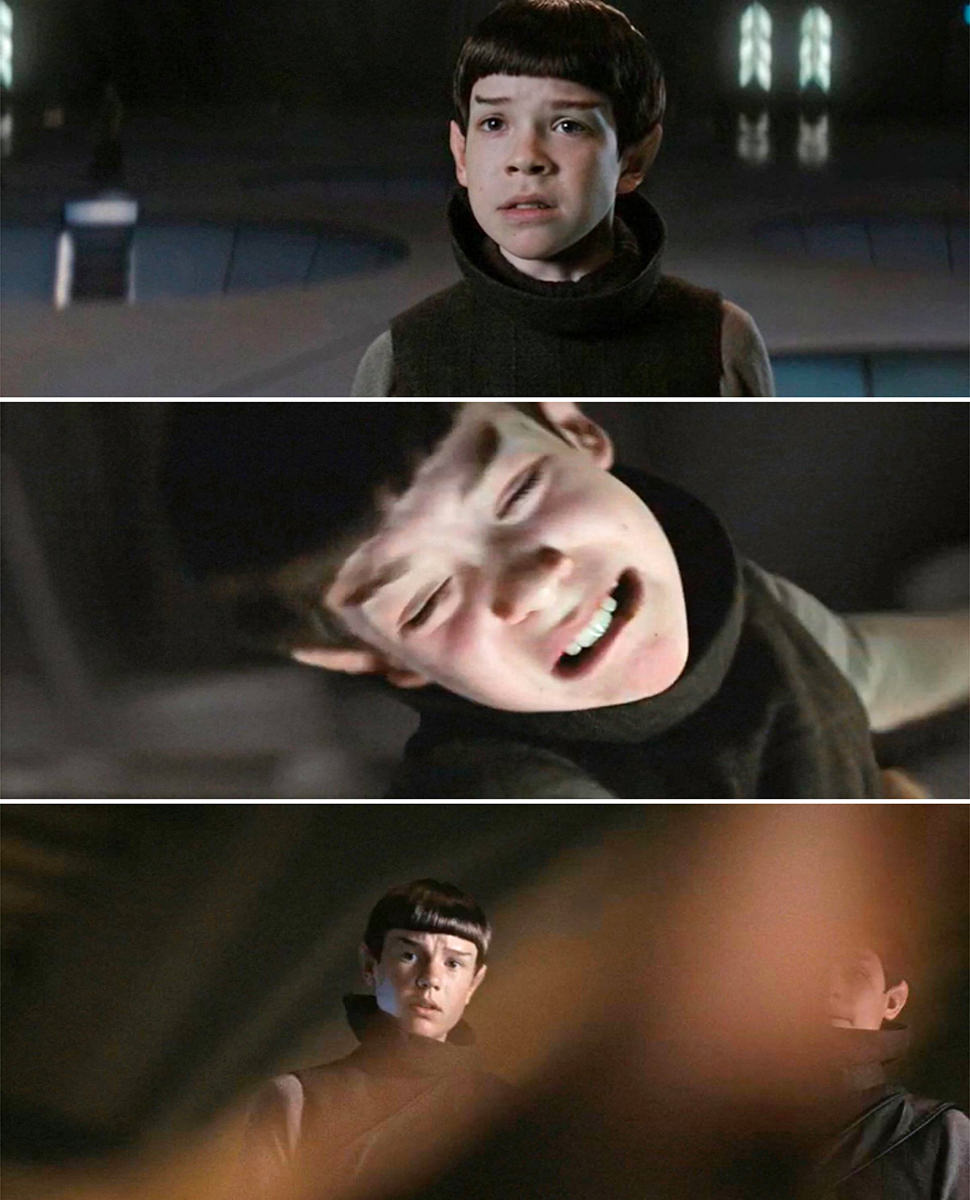 Lil' Spock beating the crap out of a fellow student.