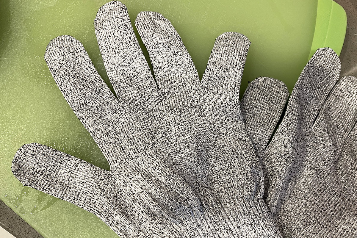 A pair of cut-resistant gloves.