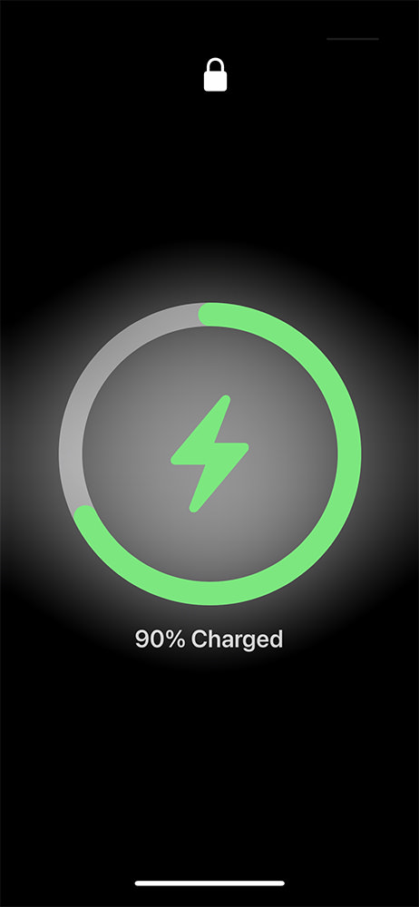 A green guage appears around the charging ring on the display.