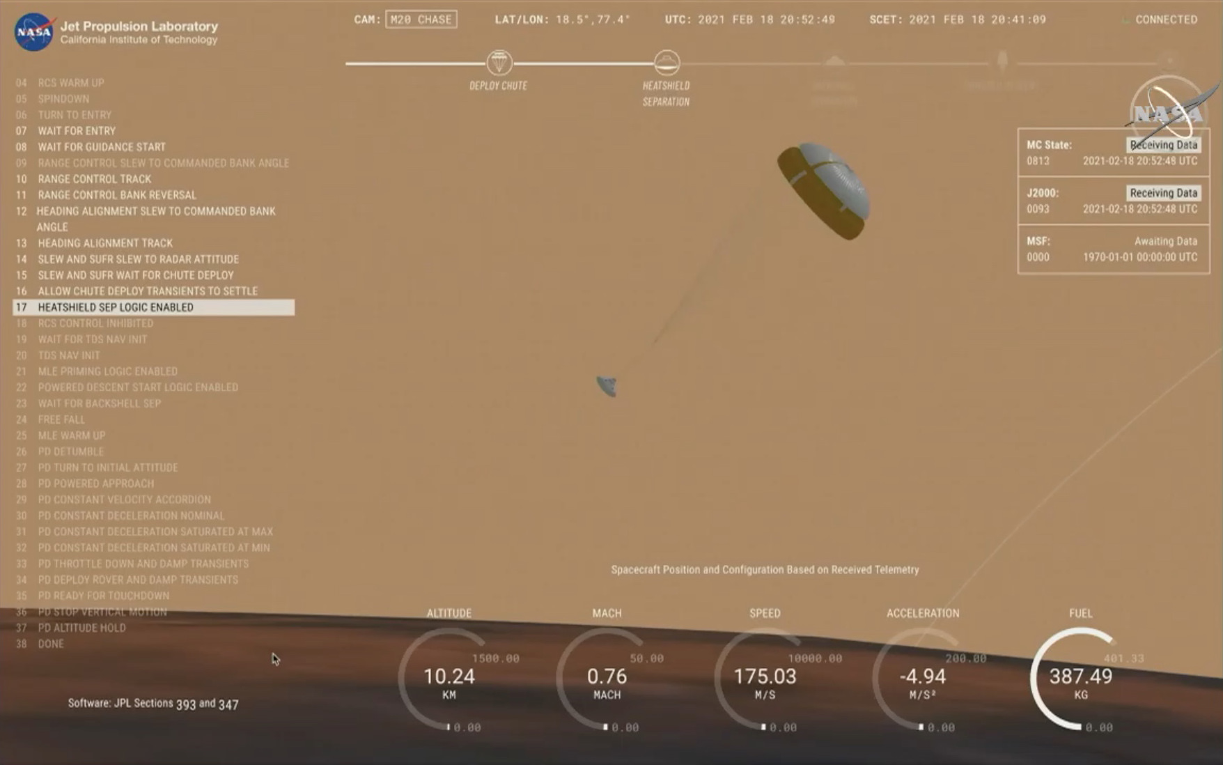 A computer rendering of the Mars rover desceding.
