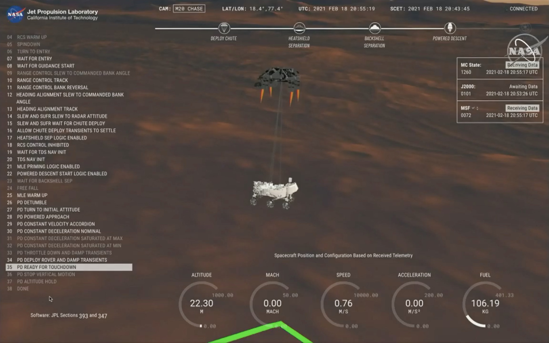 A computer rendering of  the Mars rover falling towards the red planet.