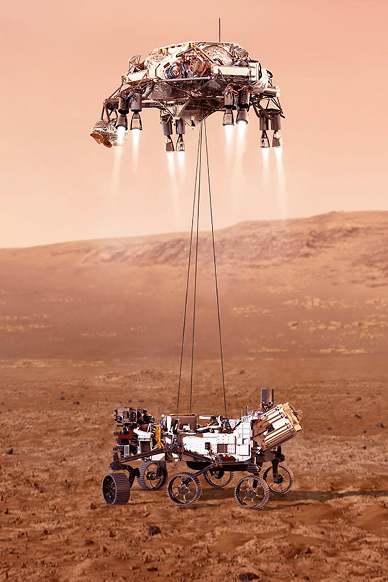 Artist rendition of the lander lowering the rover to the surface of Mars from NASA.