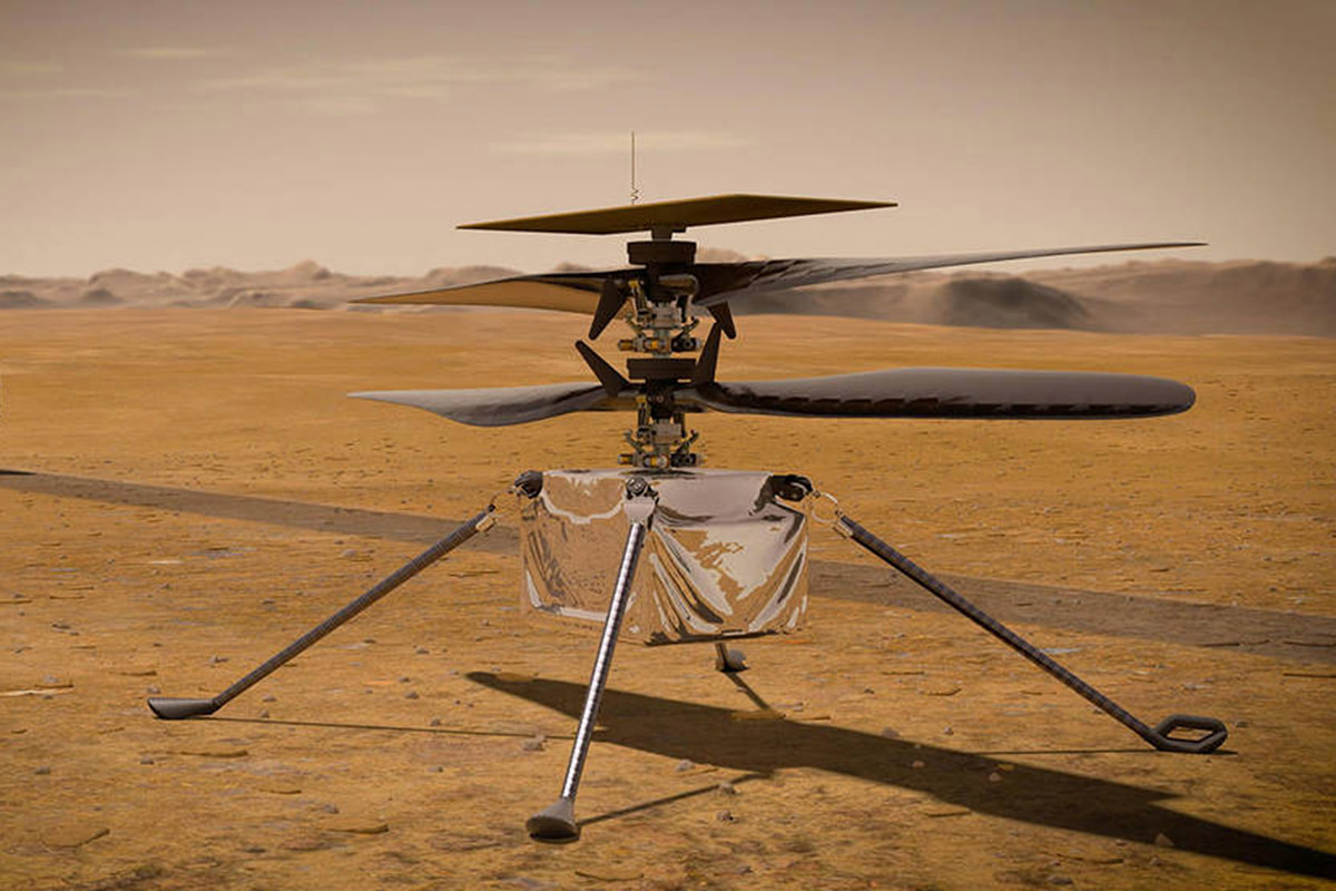 Artist rendition of the Ingenuity copter on the surface of Mars.