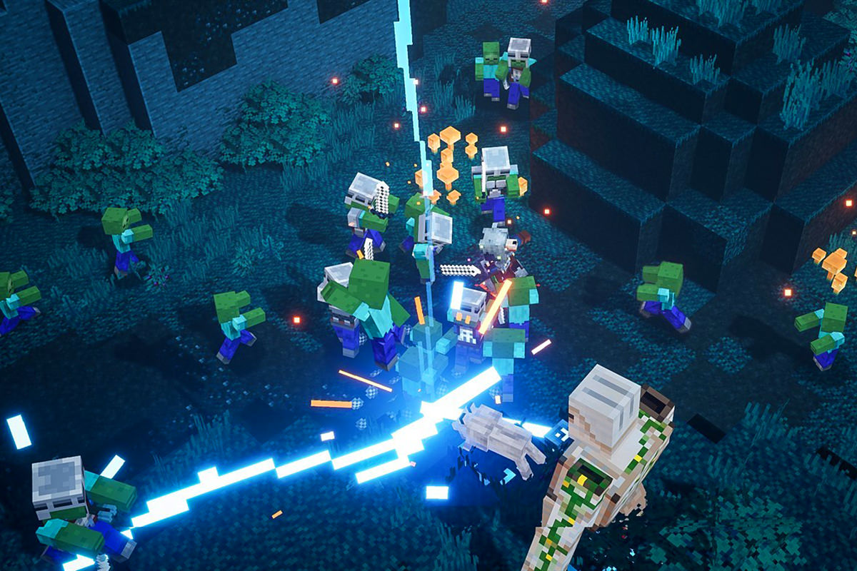 Screen capture of Minecraft Dungeons showing a battle in progress.