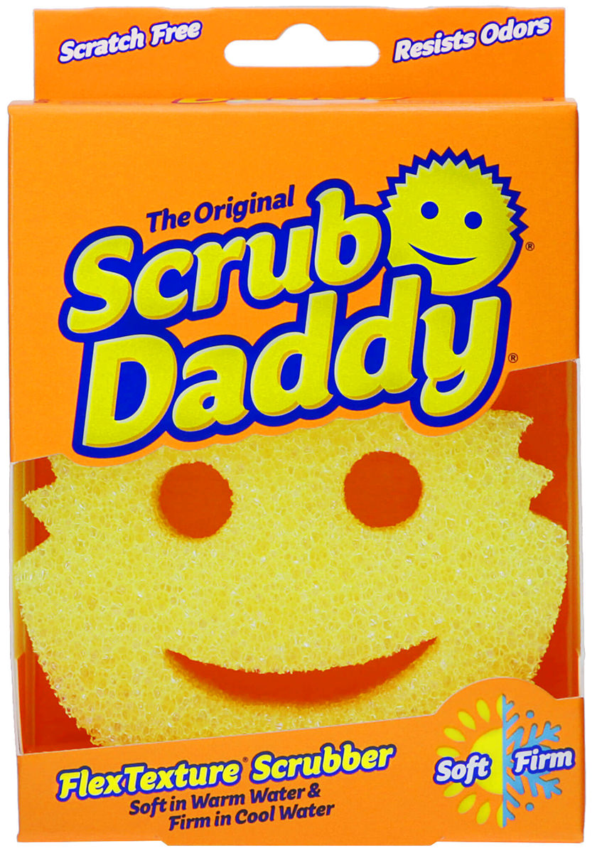 The Scrub Daddy smiling sponge cleaner and scrubber.