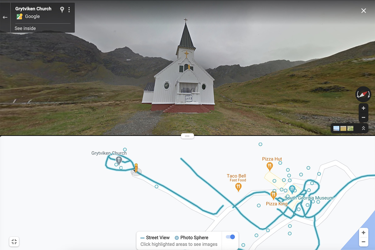 Google Map Street View of a church on South Georgia Island.