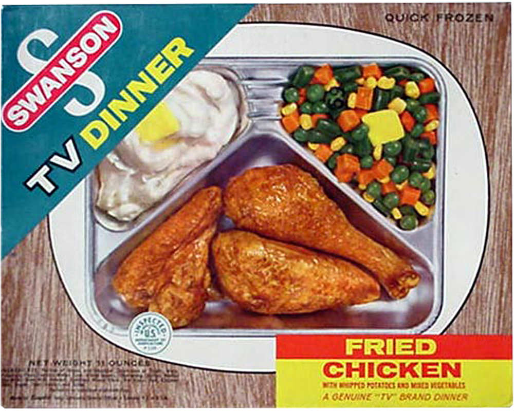 A Swanson TV dinner in aluminum tray.