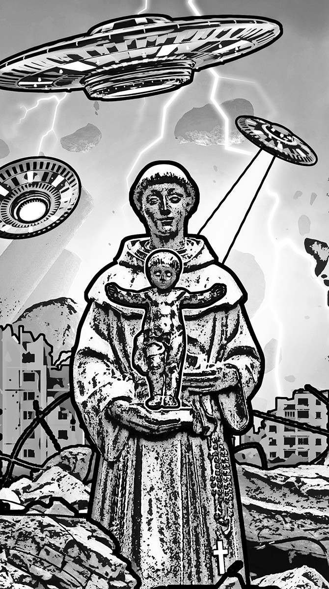 A statue of a monk holding baby Jesus (who is standing on his open hands) while an alilen invasion destroys a city in the background.