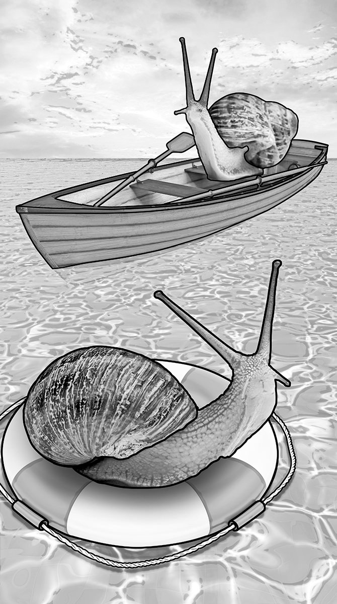 A snail is floating on a life preserver while another snail is arriving in a rowboat to save him.