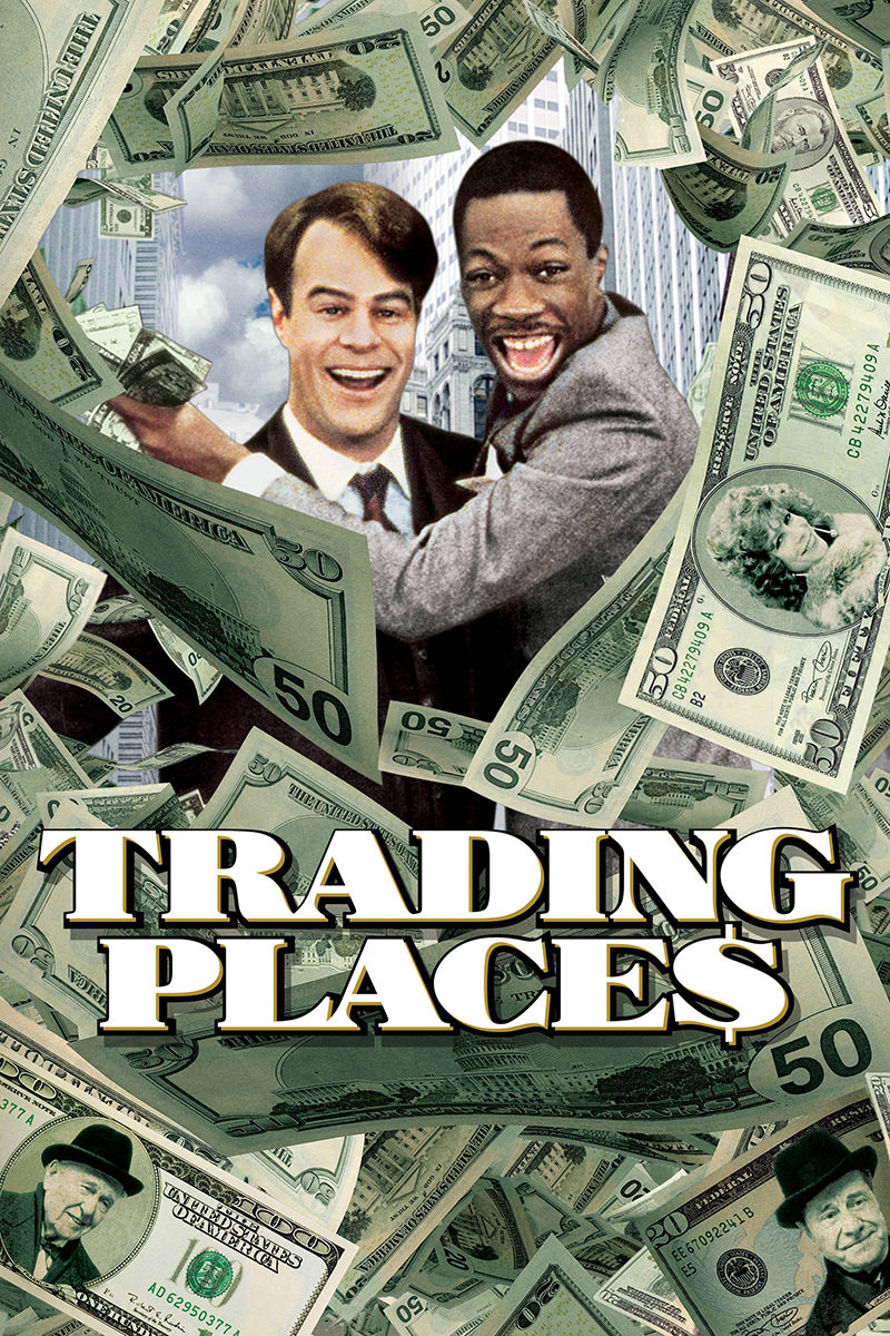 Trading Places movie poster starring Eddie Murphy and Dan Aykroyd.
