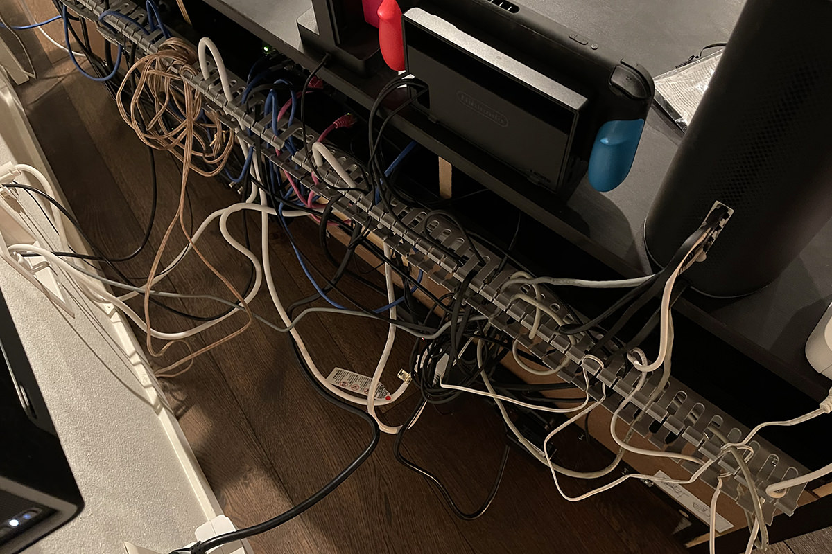Mess of wires behind my entertainment center.