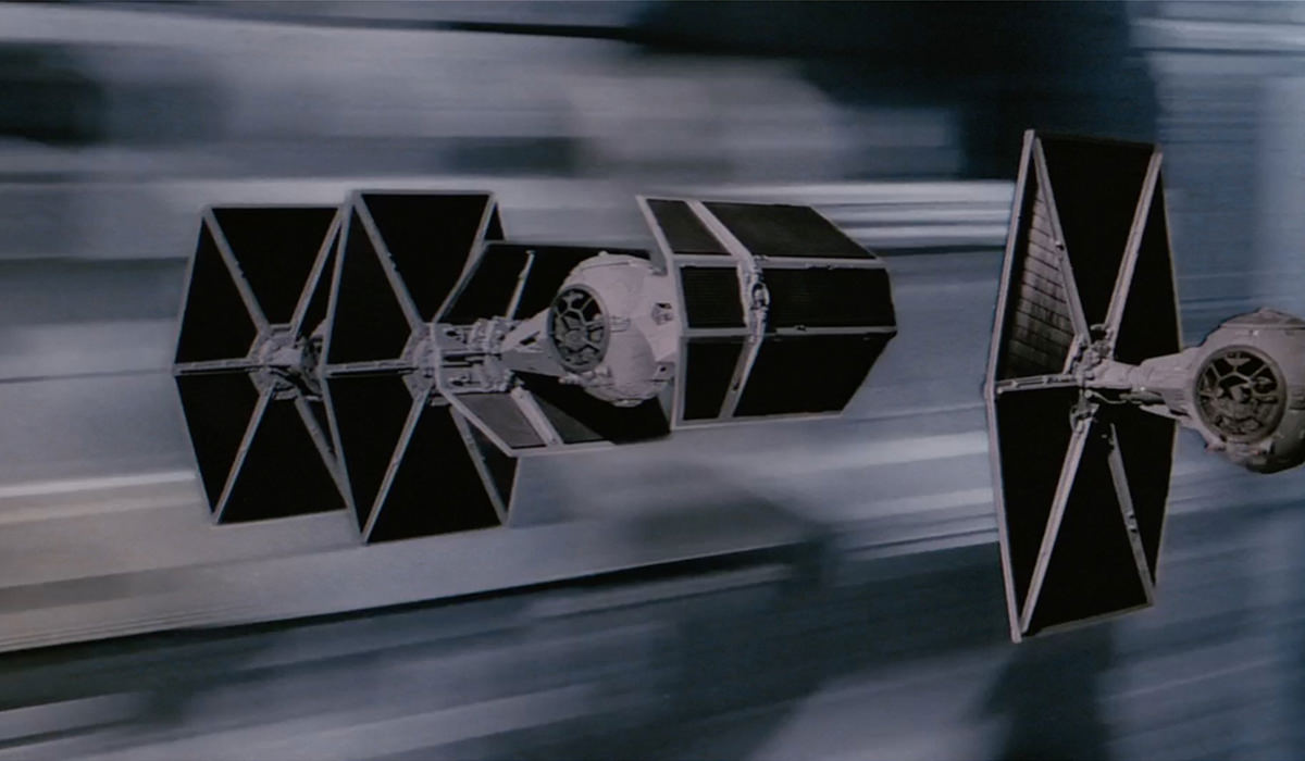 Empire space ships in the trench at the end of Star Wars!