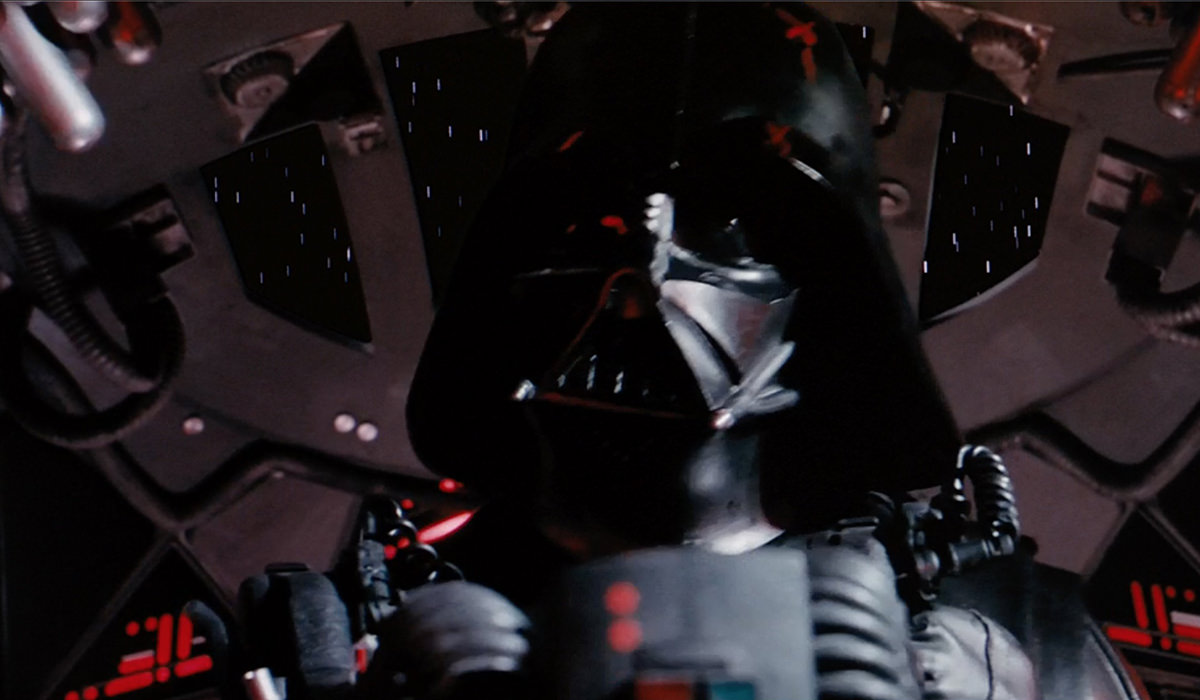 Darth Vader inside his custom TIE fighter!