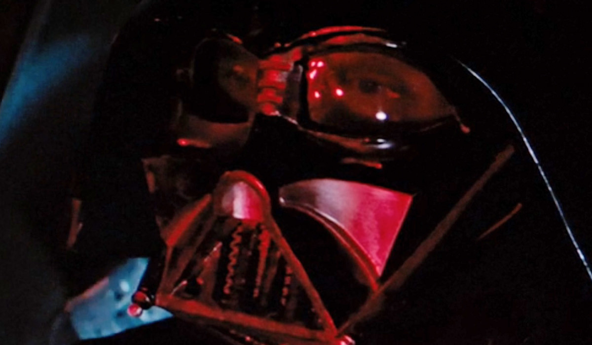 David Prowse behind the eye lenses of the Darth Vader helmet!