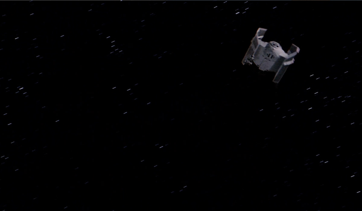 Vader's TIE fighter spins off into space!