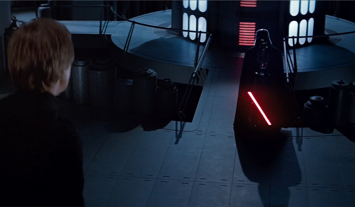 Darth Vader waits for Luke, his saber glowing!