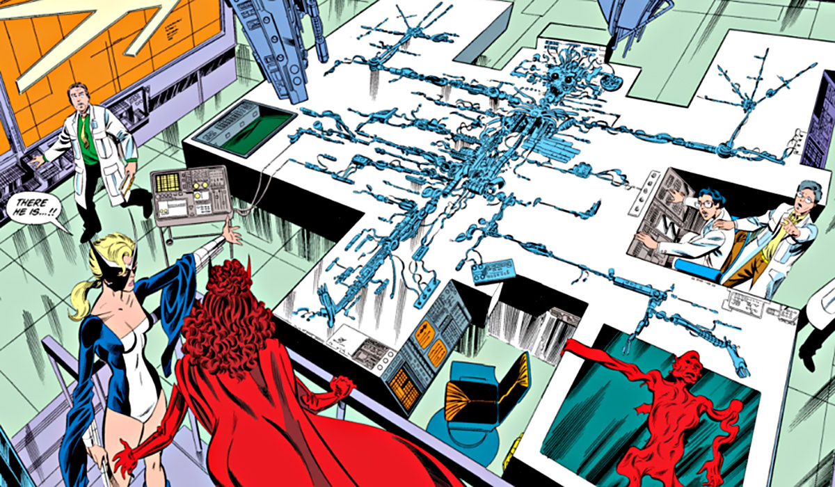 Vision all disassembled on a table in the John Byrne comics.