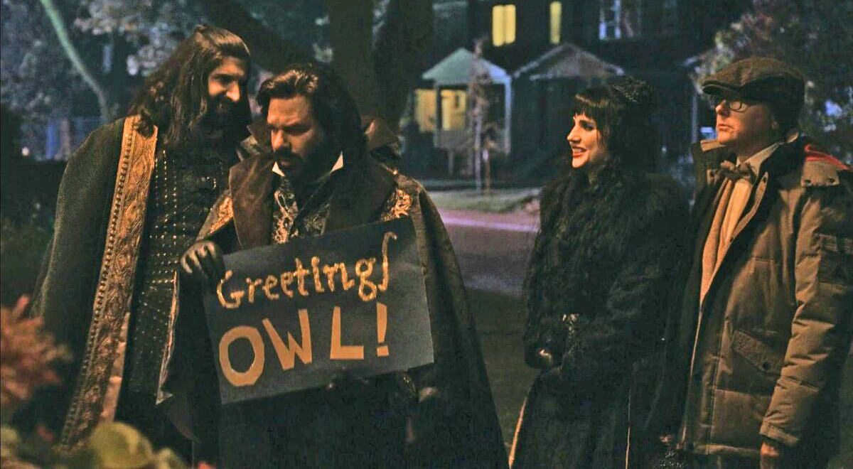 The cast of What We Do In The Shadows, consisting of vampires, shows up to a Superb Owl party.
