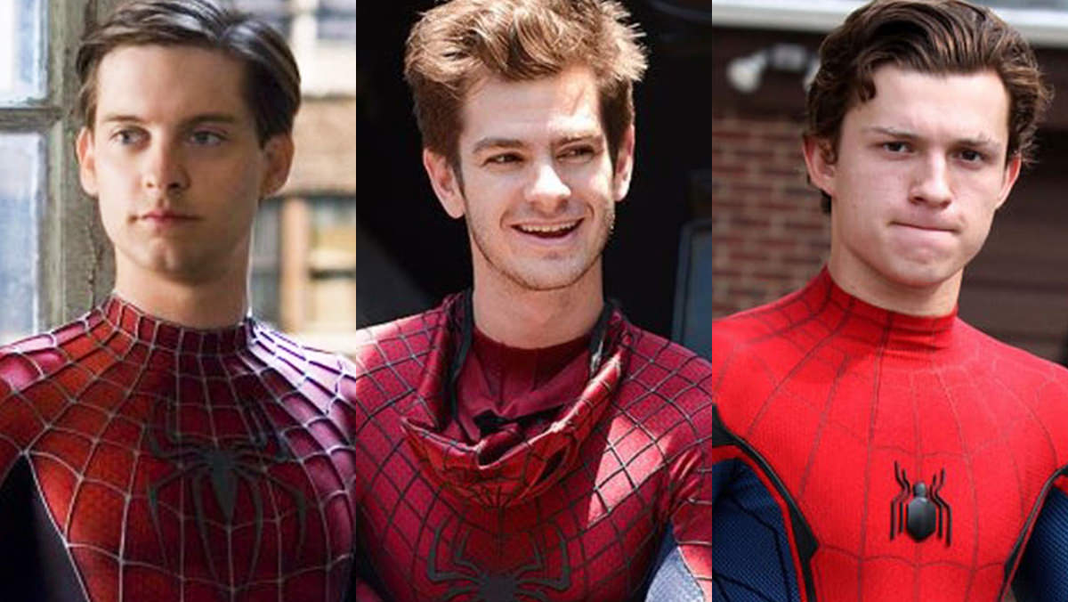 Toby Maguire Spider-Man, Andrew Garfield Spider-Man, and Tom Holland Spider-Man.