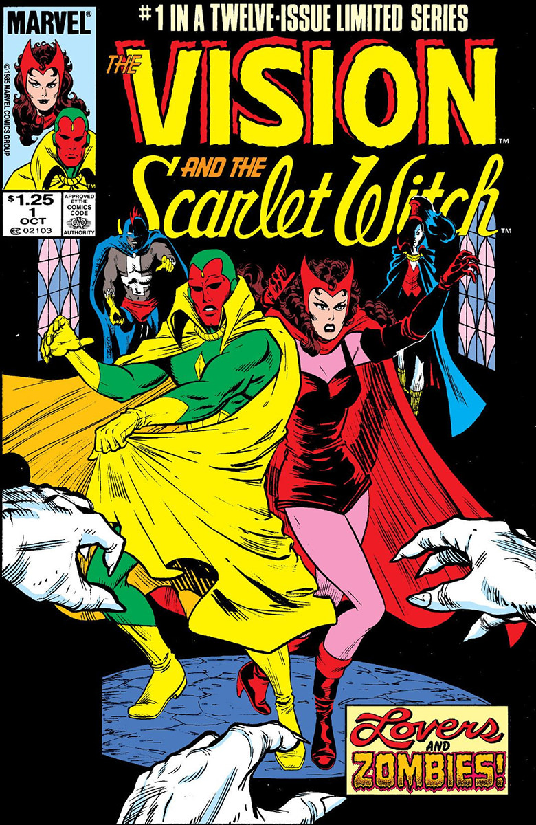 A cover of the Vision and Scarlet Witch maxi-series comic book.