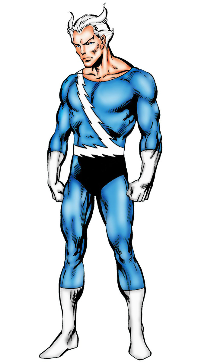 Pietro in his Quicksilver comic book costume as a Halloween costume.