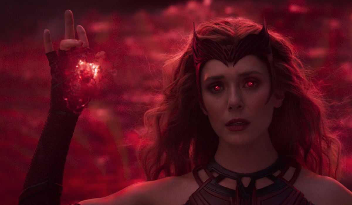 Wanda floating in the air as The Scarlet Witch!