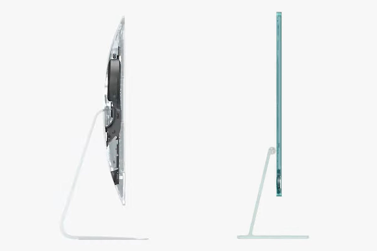A comparison of iMacs... the new one proactically invisible because it's so thin.