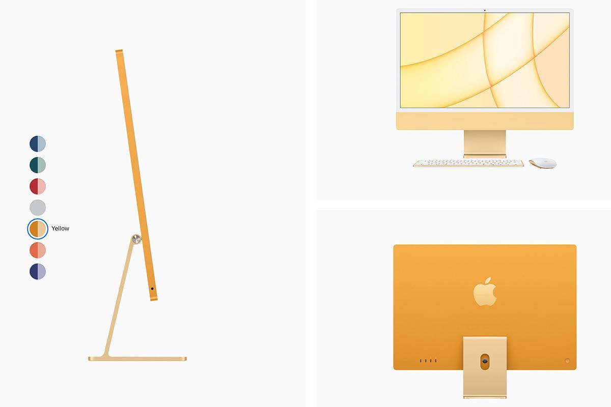 A very pretty yellow iMac.