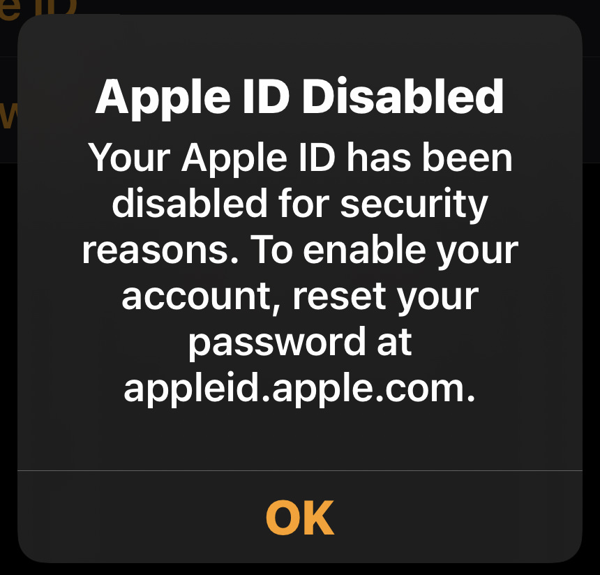 Reset your Apple ID message.