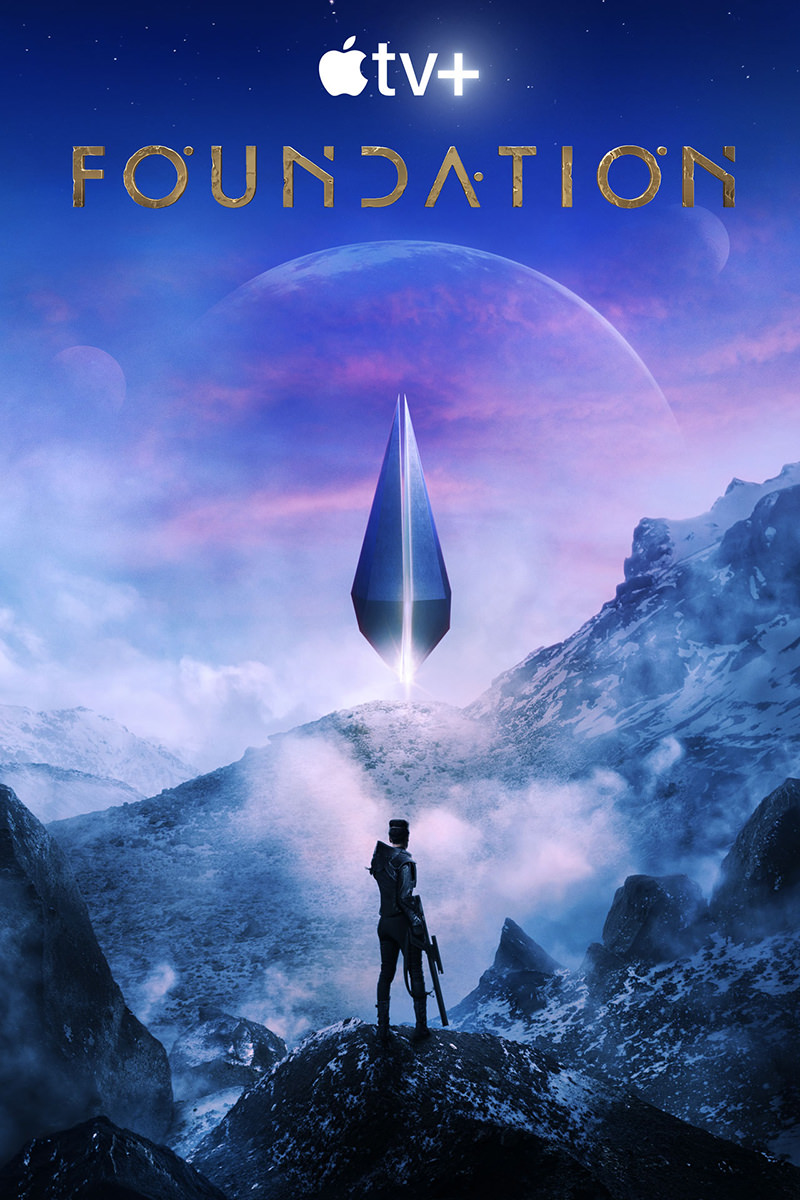 The promo poster for Foundation showing a woman with a rifle standing in front of a glowing construxt on a rough planet.