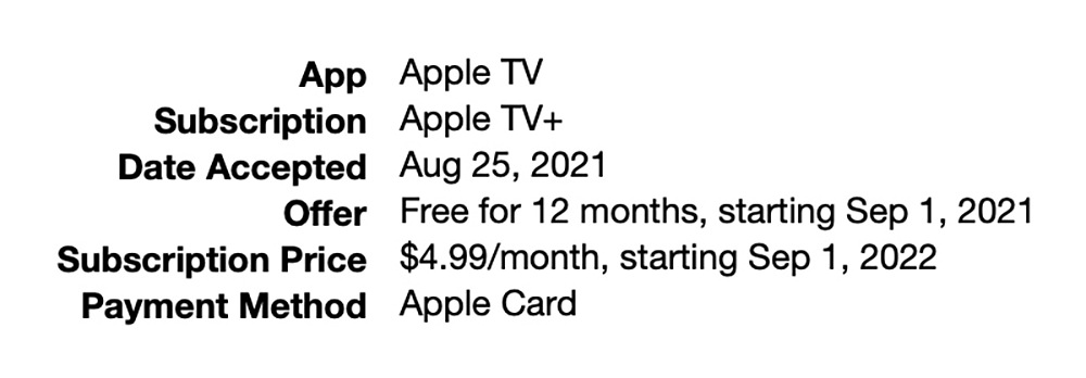 Confirmation email from AppleTV iTunes.