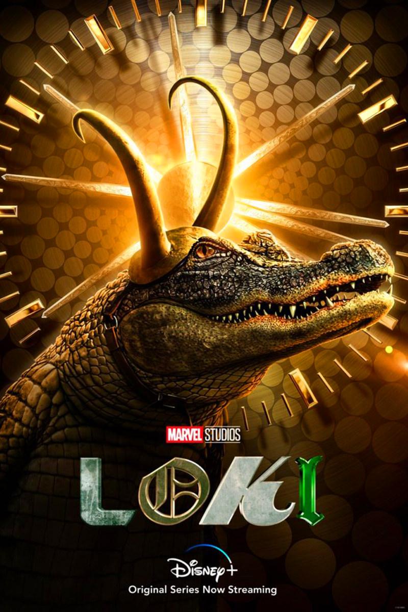 A poster for Aligator Loki... wearing Loki's horned helmet.