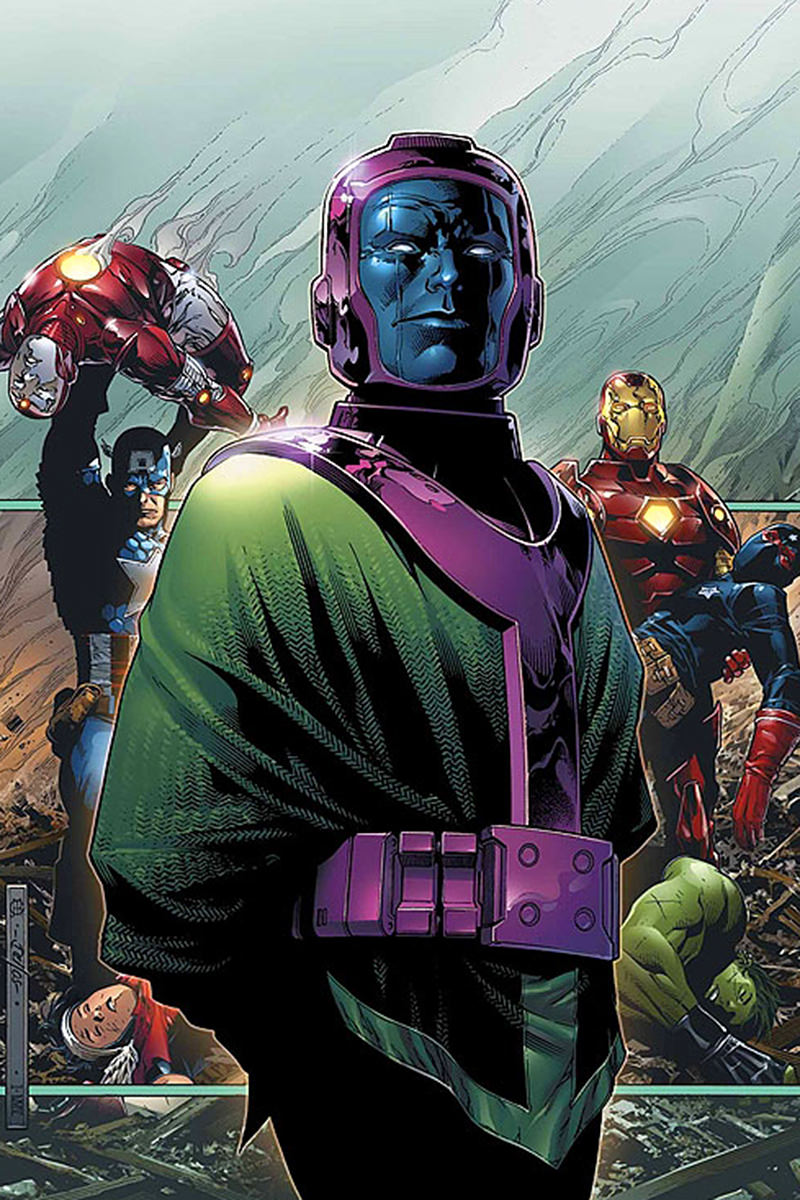 Kang the Conqueror from the comics with his purple facemask and crazy green suit.
