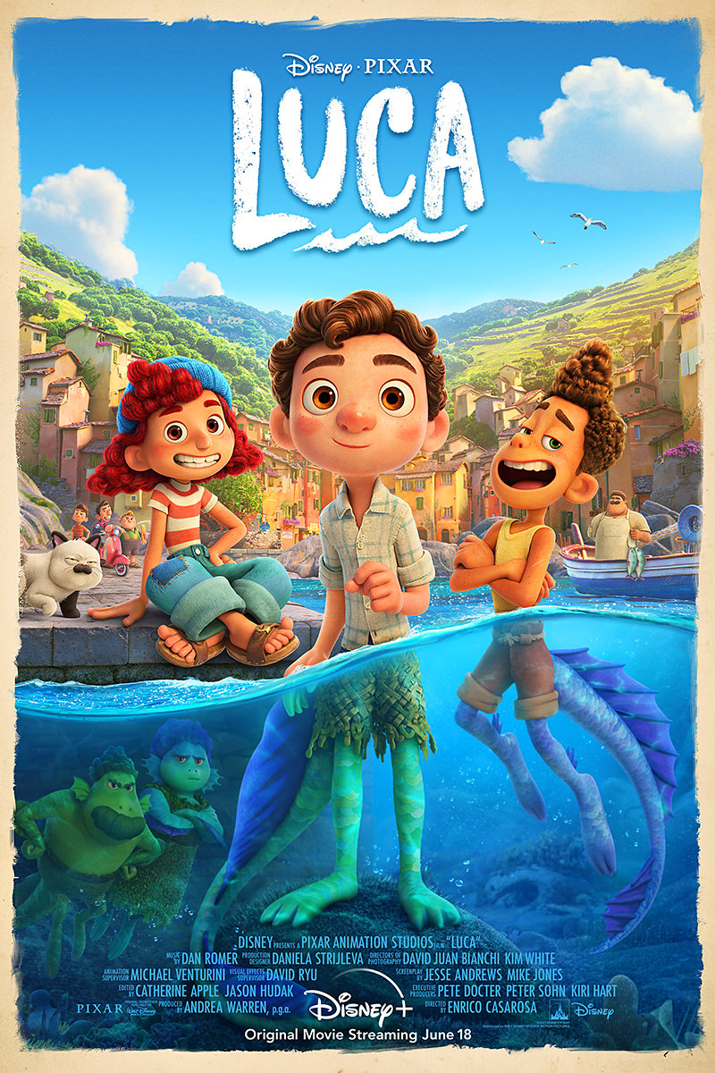 The poster for Luca showing adorable sea monsters become human once they are in the air. Half adorable human kids up top... half sea monsters under the water!