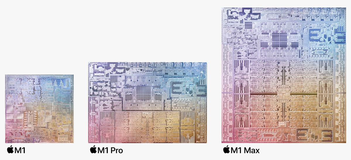 Circuit comparison between the M1, M1 Pro, and M1 Max chips.