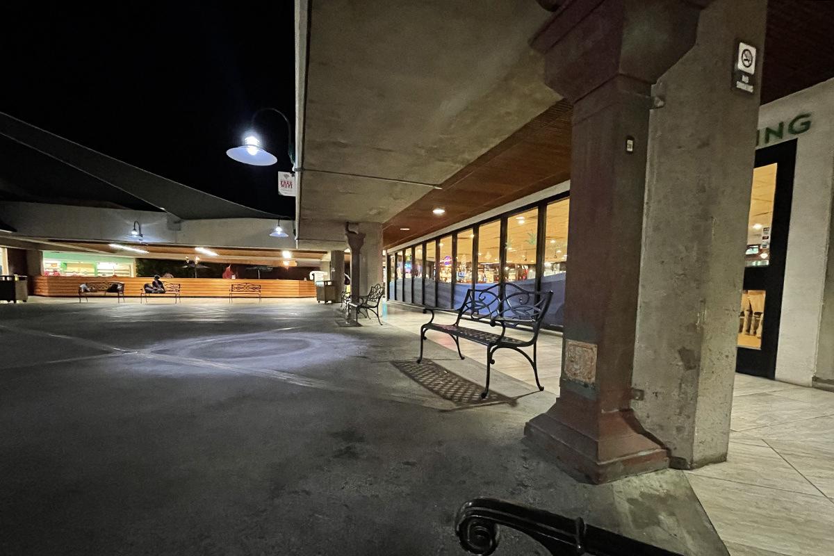 A vacant-looking Maui airport at night.
