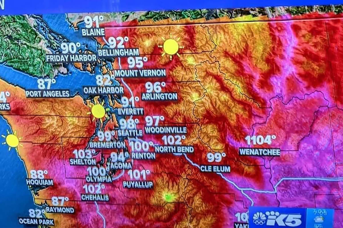 A map of Washington State with a goof showing Wenatchee as being 1104 degrees!
