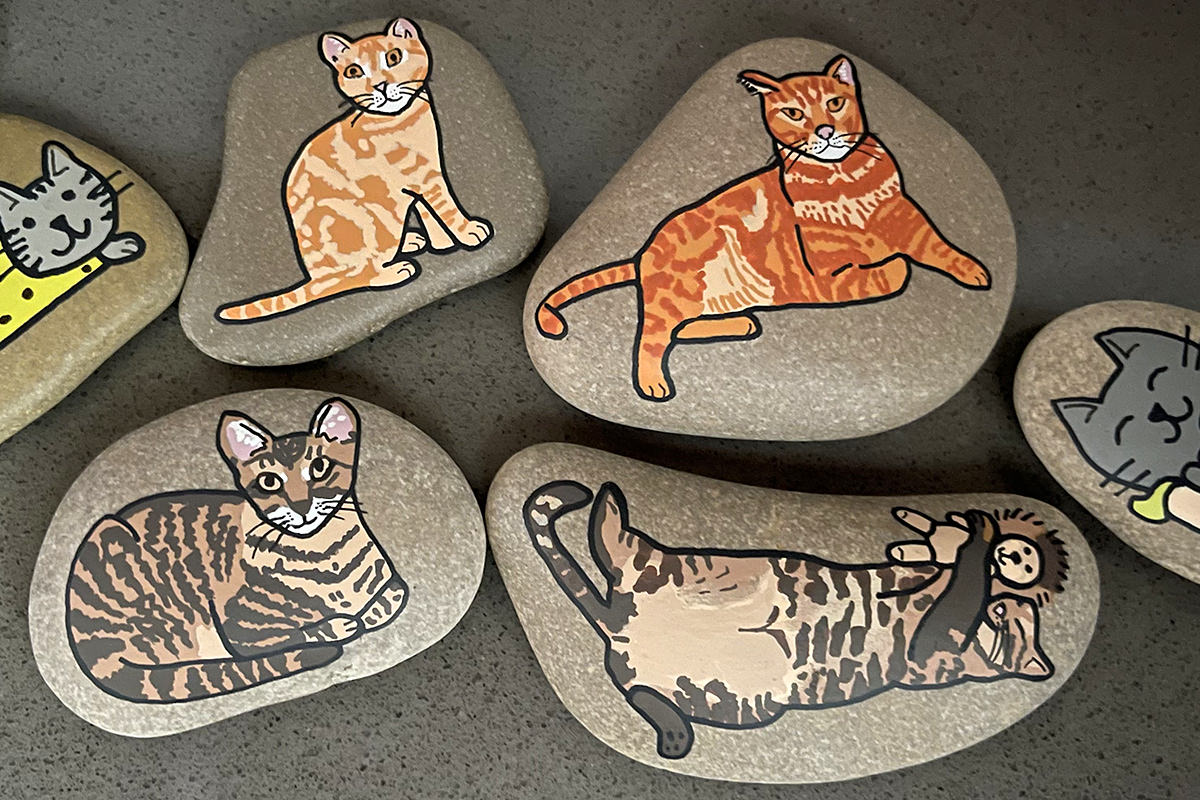 Rocks with paintings of Jake and Jenny on them.