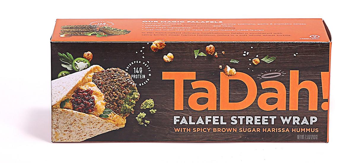 TaDah Falafel Street Wrap Box — Spicy Brown Sugar and Harissa Hummus.